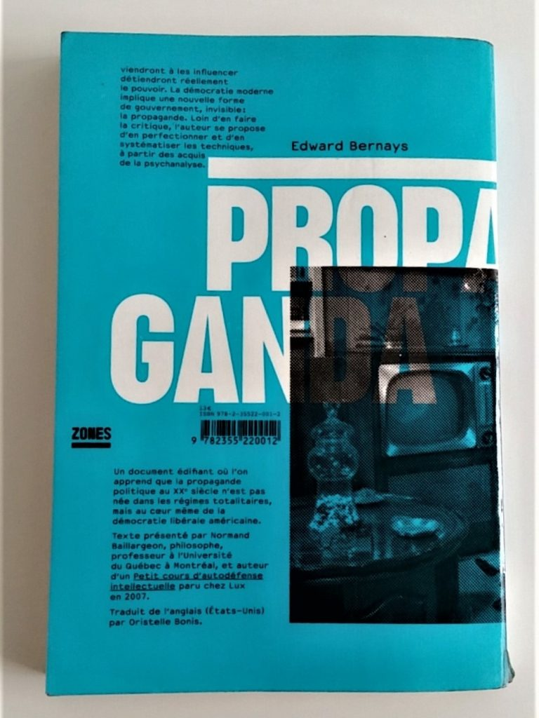 Propaganda Edward Bernay quatrieme de couverture