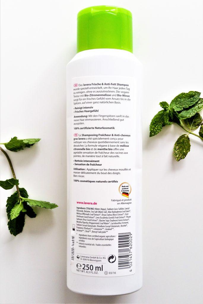 SHAMPOING FRAÎCHEUR ET ANTI-CHEVEUX GRAS DE LAVERA dos de la bouteille