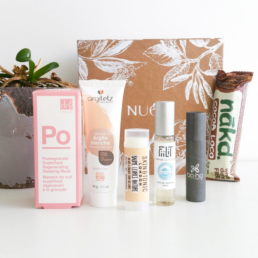 La box de janvier NuooBox 5 produits cruelty free, vegan, barre avoine