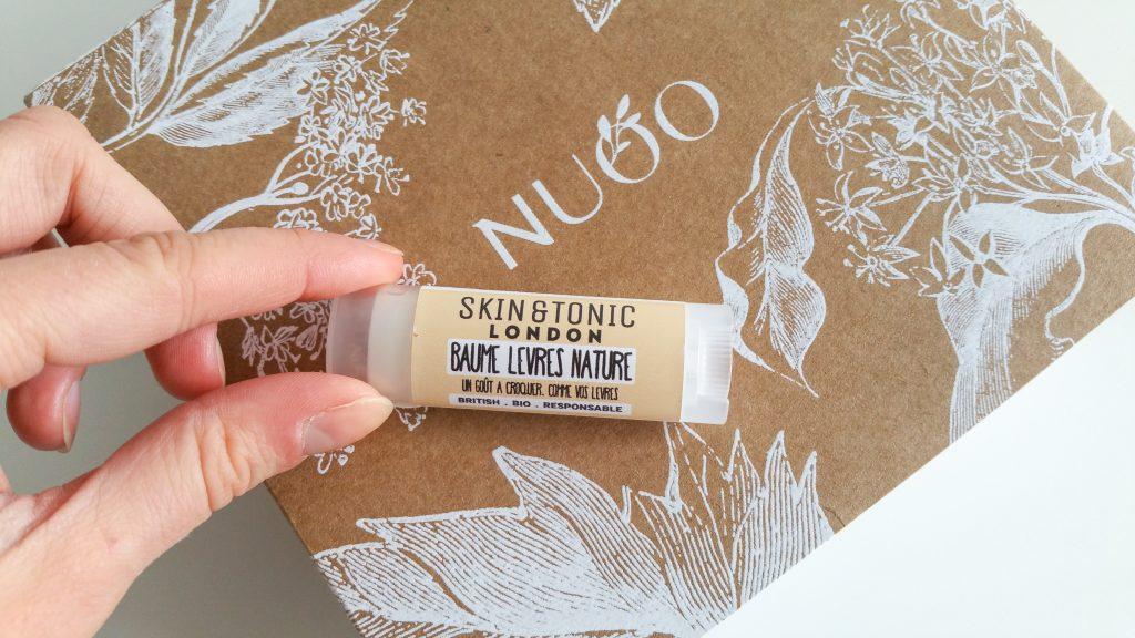 La box de janvier NuooBox Skin & tonic london baume à lèvres nature