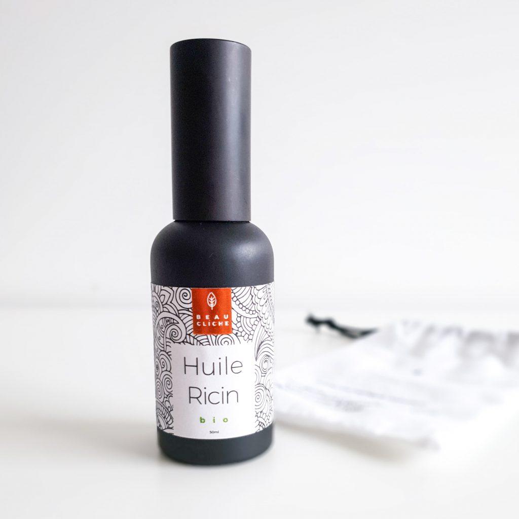 Huile végétale de ricin bio – Beau cliché Mise en avant flacon et pochon