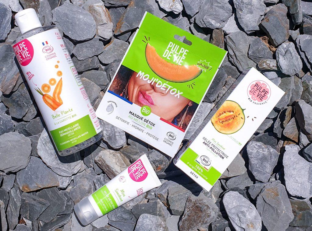 Ma routine Détox avec Pulpe de vie eau micellaire, gelée hydratante, masque anti-pollution