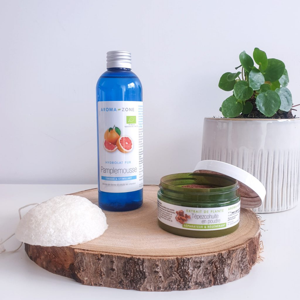 Resserrer les pores dilatés astuces et conseils eponge konjac hydrolat pamplemousse poudre de tepezcohuite