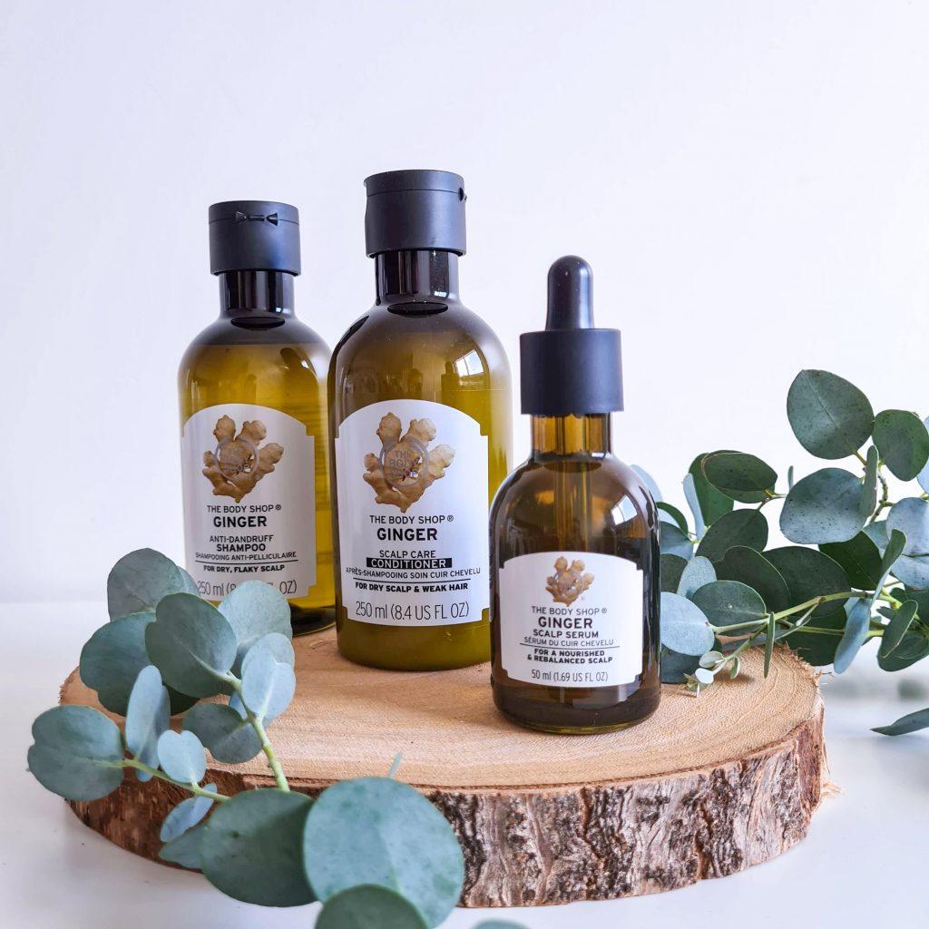 Trois soins antipelliculaire et cuir chevelu sec au gingembre de la marque The Body Shop