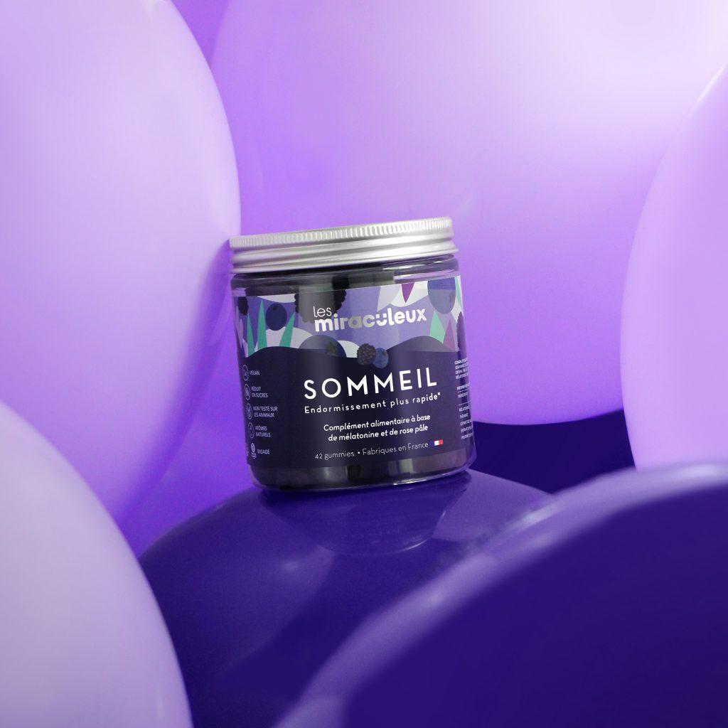 Photo des gummies sommeil issue des outils marketing de la marque Les Miraculeux