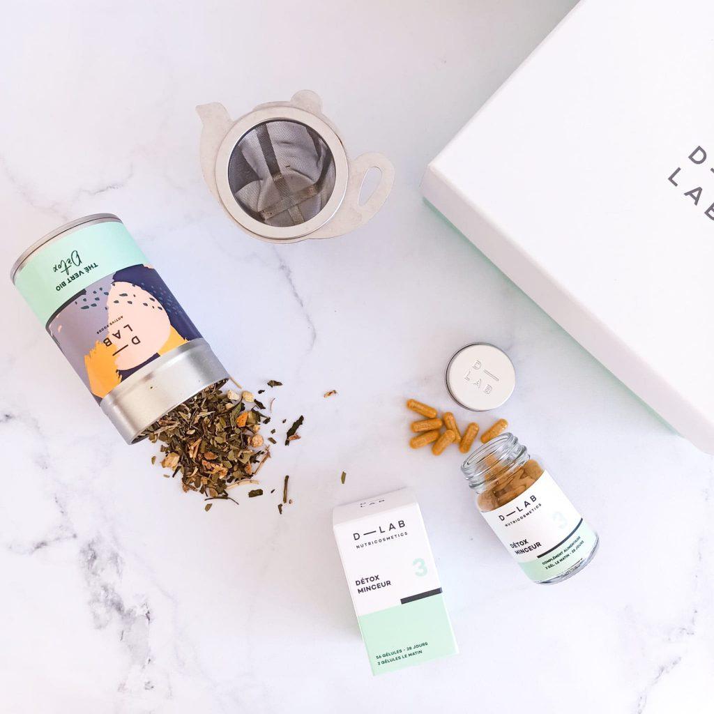 le thé vert bio détox en vrac et le complément alimentaire détox minceur pour une routine détox après les fêtes de d-lab nutricosmetics