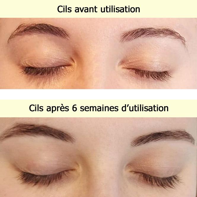 Montage : une photo avant l'utilisation du mascara et une seconde photo après 6 semaine d'utilisation quasi quotidienne