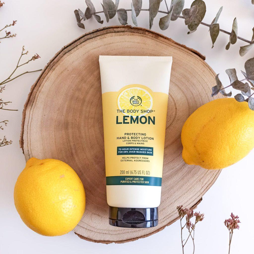 Lait pour le corps et les mains au citron de la marque The Body Shop
