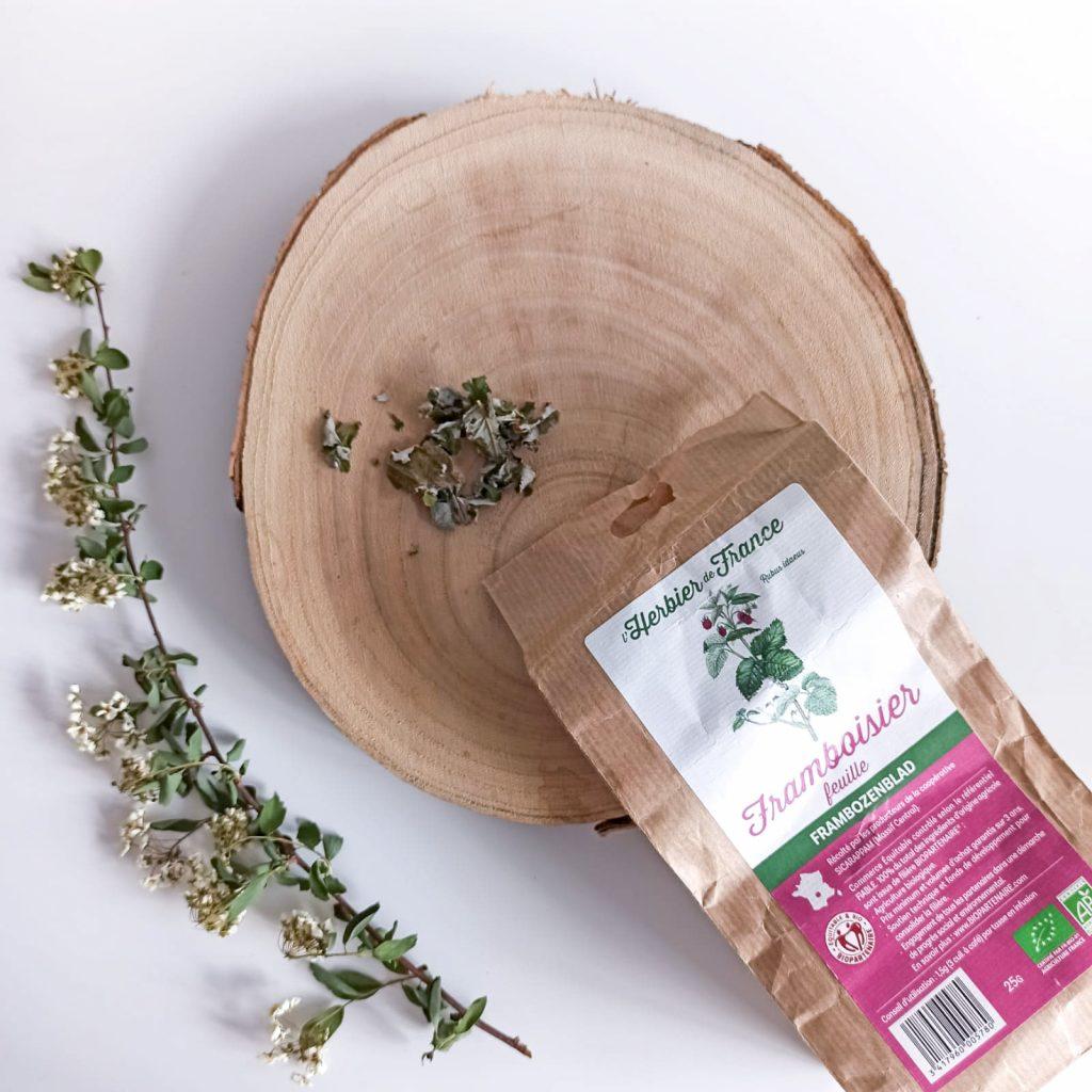 Infusion de feuilles de framboisier de la marque Herbier de France
